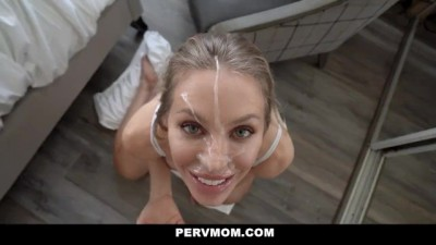 Busty Blonde Cougar Seduces Her Husband's Son