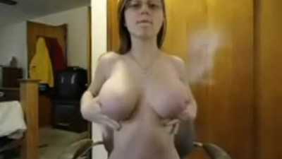 Cute Busty Girl Oils Up her Big Tits Webcam Show