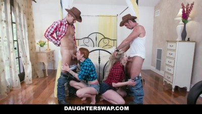 Cute Teen Cowgirls Ride Big Daddy Dick