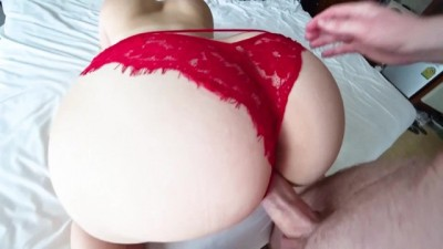 Fuck through Red Panties in Hotel Room Big Ass