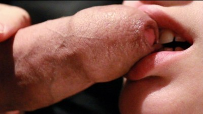 Soft Sloppy Foreskin Blowjob and Licking up a Mouthful of Warm Cumshot