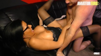 Sexy Brunette German Milf Fucked to Climax on the Couch
