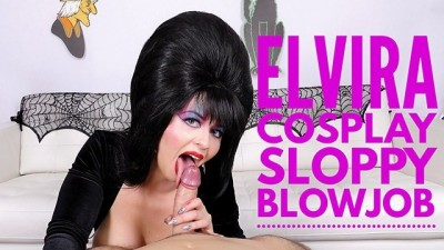 Cum Swallowing Cosplay Whore Elvira Sucks Cock Larkin Love