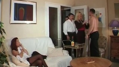 Horny Redhead Couple Caught in Action by many Friends