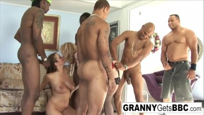 hORNY bLONDE Nina Hartley Gets an Amazing Interracial Gangbang