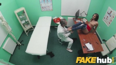 Sexy ass patient with shaven pussy rides doctors cock
